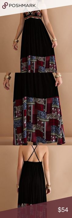 Spaghetti strap maxi 100% rayon with 100% poly lining. Adjustable straps A Bohemian Child Dresses Maxi