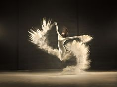Dancer Frozen in Time Amid Beautiful Powdered Clouds