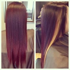 Dark violet red color with a chunky honey blonde highlight. #HairByKimberly