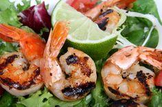 Shrimp Salad with Lime wedges.