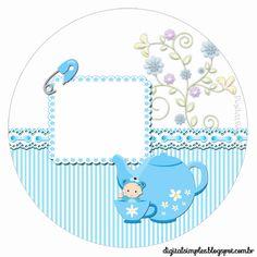 """Convites Digitais Simples: Kit Personalizado """"Chá de Bebê"""" Menino para Imprimir"""