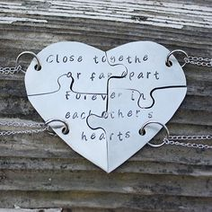 Ideas For Tattoo Sister Puzzle Hand Stamped Bff Necklaces, Best Friend Necklaces, Best Friend Jewelry, Friendship Necklaces, Friendship Gifts, Best Friend Cases, Best Friend Gifts, Gifts For Friends, Dog Jewelry