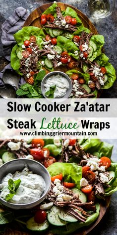 Slow Cook Za'atar Steak Lettuce Wrap - Climbing Grier Mountain Delicious Dinner Recipes, Appetizer Recipes, Yummy Food, Slow Cooker Recipes, Crockpot Recipes, Healthy Recipes, One Pot Dinners, Easy Dinners, Baked Ribs