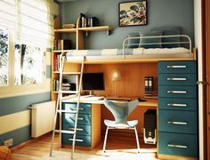 Compact Furniture For a Small Sized Kids Room. Designing a small room interior is usually hard, but it can also be a creativity catalyst ! This is especially true when working for a kids room, you want to occupy the space with furniture as little as possible, so the play area size is maximized. http://www.designrulz.com/spaces-for-living/childs-room/2012/03/compact-furniture-for-a-small-sized-kids-room/