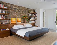 Breathtaking Home Interior Design with Modern Furniture Inside: Contemporay Bedroom Design Wall Bookshelf Rock Hall House
