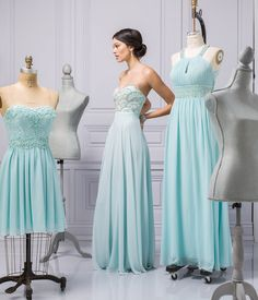 Go for colour: Accompany the stunning bride down the aisle in a beautiful mint gown featuring a beaded crystal bodice and sweetheart neckline.   Visit LE CHÂTEAU's Wedding Boutique to see all the exquisite bridesmaid dresses and so much more.