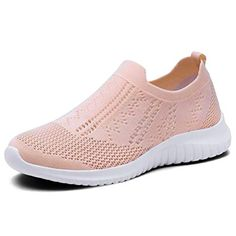 4567c68d4517 KONHILL Women  s Walking Tennis Shoes - Lightweight Athletic Sport Gym Slip  on Sneakers