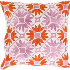 Surya Floral Geo Poppy Red & Carnation Pink Decorative Pillow