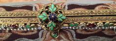 Vintage Micro Petit Point Figural Scenic Purse Enamel Jeweled Frame