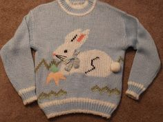 Light Blue Sweater White Bunny Rabbit Easter Carrot Bow L Large | eBay $59.99