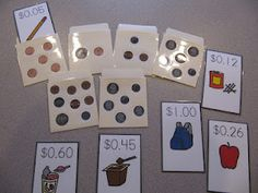 Using library pockets for educational purposes - LOVE THIS! :) Could make these on the Cricut easily too.