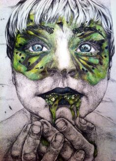 Portrait of Child, using fine liner and ink
