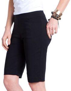 Basic Black SlimSation Ladies & Plus Size  Pull On Golf Shorts available at #lorisgolfshoppe