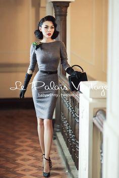 Бесплатная доставка Le Palais урожай элегантный ретро сексуальное платье без спинки / вязание bodycon платье / мешок хип купить на AliExpress