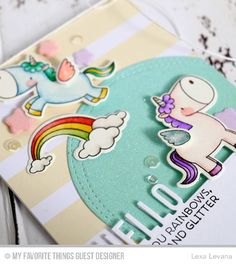 Handmade Card from Lexa Levana featuring Magical Unicorns stamp set and Die-namics #mftstamps