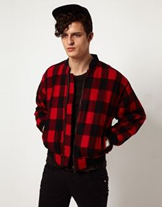 Enlarge Reclaimed Vintage Checked Bomber Jacket