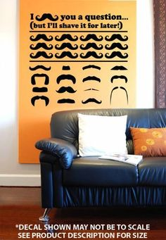 """Famous Mustache Collection"" (+ Free Bonus) Wall Décor Sticker Vinyl Decal by Vertigo Creative Products, http://www.amazon.com/gp/product/B008163AWU/ref=cm_sw_r_pi_alp_QIp.pb00S6VVB"