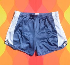 vintage 80s jog shorts COBBLESTONES run silky gym nylon blue XL Large aerobics Beach Boardwalk, Vintage Shorts, Aerobics, Running Shorts, Jogging, Elastic Waist, Navy Blue, Gym, Swimwear