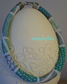 crochet beads pastelowy turkus