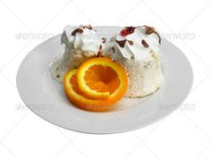 Ice cream dessert with orange slice in a dish