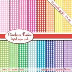 gingham digital paper checkered paper checked by LaurelingStudios, $2.99