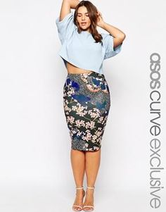 ASOS CURVE Pencil Skirt in Japanese Blossom Print