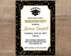 Confeti graduación invitación fiesta negro por Invites2Adore