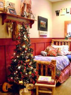rustic christmas bedroom