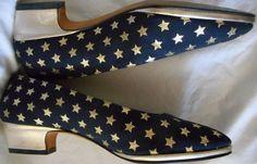 ESCADA Vintage Stars Shoes Pumps Low Heel Gold Leather Blue Brocade Lame 6.5 36 #ESCADA #Heels