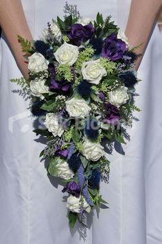 Scottish Inspired Ivory Rose, Thistle and Lisianthus Cascade Bridal Bouquet