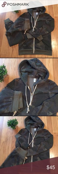 🆕 new list Alternative camo jogging suit So soft Alternative Earth zip up hoodie and sweatpants. Hoodie size S and joggers size XS. Wore this two times. Perfect condition. No smoking or pets in home. Did I say soft?! Alternative Apparel Tops Sweatshirts & Hoodies