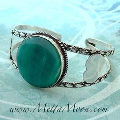 $24 MettaMoon Bridge of Hearts Silver Cuff Bracelet. Blue-green agate gemstone.