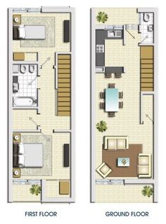 Plan view of small living space-instead of having 2 levels.would slide the two together and have 1 level Narrow House Plans, Small House Floor Plans, House Front Design, Small House Design, Compact House, House Stairs, Level Homes, Small Space Living, House Layouts