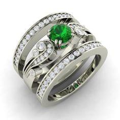 Balis Ring with Round Emerald, VS Diamond | 1.02 carat Round Emerald  Bridal Ring Set Ring in 14k White Gold | Diamondere