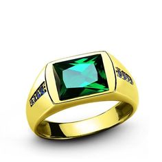 MENS EMERALD RING 3.40ctw REAL 14k Yellow Gold Gemstone Pinky Ring all sizes | Jewelry & Watches, Men's Jewelry, Rings | eBay!