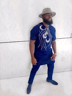 Men's African Wear Blue with White Embroidery Dress Suit African Dresses Men, African Attire For Men, African Clothing For Men, African Wear, African Women, African Style, African Fashion Designers, African Inspired Fashion, African Print Fashion
