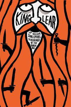 King Lear theatre poster by Jean Jullien. From a series of theatrical posters created for Harry & Cody Binger show. Jean Jullien is a French graphic designer living and working in London.