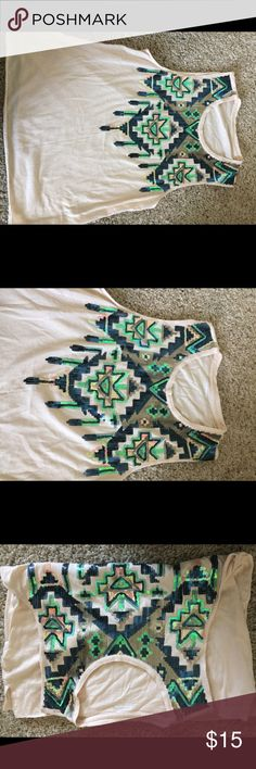 Express Aztec top Beautiful sequins colors , gently used couple of times Express Tops Muscle Tees