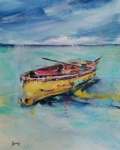 Abstract Landscape Painting, Landscape Paintings, Boat, Etsy Shop, Paper, Handmade, Dinghy, Landscape, Boats