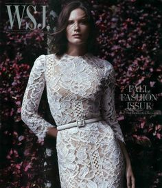 Model Drake Burnette looks stunning in Dolce and Gabbana white lace on WSJ Magazine September issue cover 2013 High Fashion, Fashion Show, Womens Fashion, Fashion Design, Fall Fashion, Peplum Dress, Lace Dress, Wsj Magazine, Drake