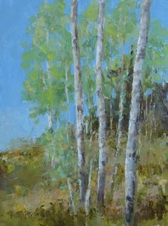 Mountain Aspens, a contemporary landscape oil painting by western Colorado artist, Barbara Churchley, a painting of aspen groves in the Rocky Mountains