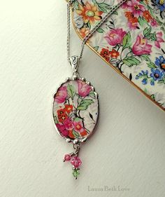 Broken china jewelry pendant necklace with crystals antique Marina chintz china
