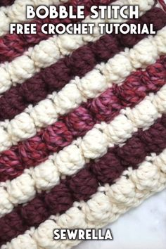 How to Crochet the Bobble Stitch - free video tutorial - The crochet bobble stitch is easier than you might think with my free video tutorial! This technique is beginner friendly and fun to add to any project. Crochet Puntada Bobble, Crochet Bobble, Afghan Crochet Patterns, Crochet Patterns For Beginners, Knitting For Beginners, Baby Blanket Crochet, Crochet Stitches, Free Crochet, Knitting Patterns