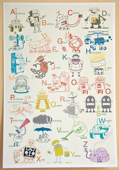 cute robot alphabet poster for a kids room