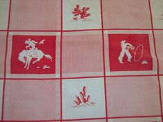 Vintage Tablecloth Cowboys Roping & Riding by unclebunkstrunk