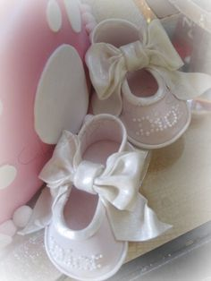 "Pink ""Dior"" Slippers for Baby Samantha made from gumpaste"