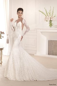 tarik ediz 2014 bridal collection illusion neckline long sleeves mermaid wedding dress 1 orkide