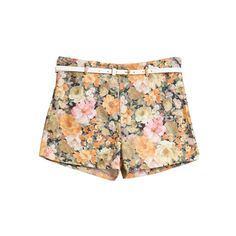 Floral Printed With Belt Yellow Shorts (270 SEK) ❤ liked on Polyvore featuring shorts, bottoms, pants, short, floral shorts, yellow short shorts, yellow shorts, floral print shorts and floral printed shorts