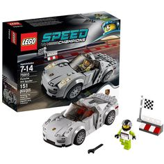 Go for a thrilling drive with the LEGO® Speed Champions version of the Porsche 918 Spyder! Take on your friends' LEGO® Speed Champions cars in a race to be first past the checkered flag! Porsche 918 Spyder, Porsche 914, Lego Speed Champions Porsche, Van Lego, Kids Part, Lego City Police, Lego System, Lego Bionicle, Lego Models