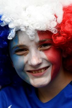 #EURO2016 A France supporter is pictured ahead the Euro 2016 round of 16 football match between France and Republic of Ireland at the Parc Olympique Lyonnais...